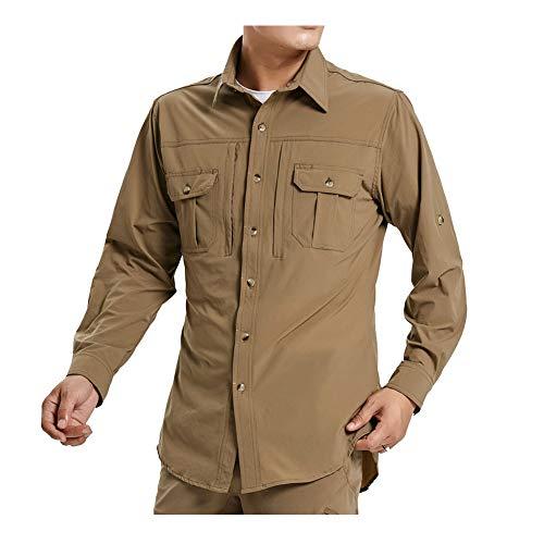 Lanbaosi Herren-Wandershirt, schnelltrocknend, langärmelig, Sonnenschutz, leicht, Workout-Angel-Shirt Gr. L, braun