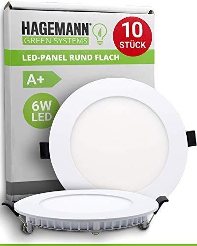 HAGEMANN® 10 x LED Panel rund 6 Watt 570lm – Ø 105mm Bohrloch – flach 230V Spots Deckenleuchte Einbauleuchte