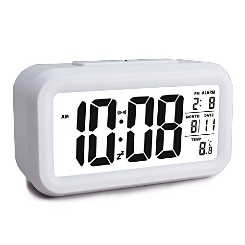 Battery Operated Cordless Digital Alarm Clock with Temperature, Crescendo Alarm, Calendar, Backlight, 12/24Hr Switchable, Snooze Desk Clock for Kids/Heavy Sleepers/Bedroom/Travel (White)