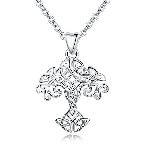 INFUSEU 925 Sterling Silber Frauen Halskette, Baum des Lebens Silber Anhänger & Silber Kette 18