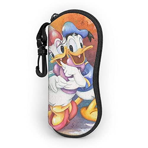 Donald Cartoon Duck Ultra-Leggero Portatile In Neoprene Con Cerniera Hard Shell Occhiali Caso Con Moschettone Occhiali Da Sole Caso Per Uomo Donna