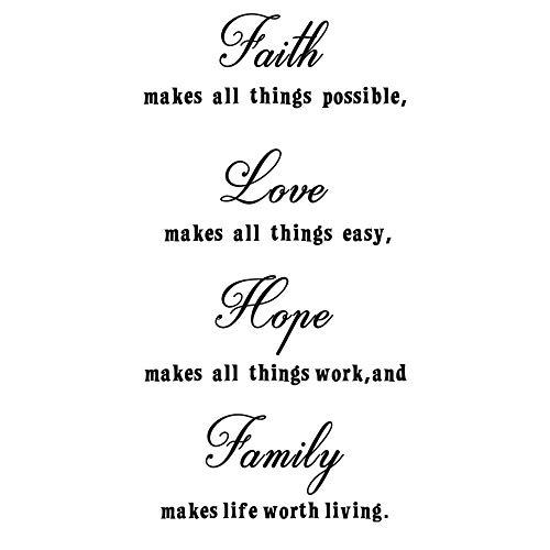 Wandtattoo, Motiv: Glaube, Liebe, Hoffnung, Familien-Zitate, Wanddekoration, inspirierender Bibelvers, Vinyl-Kunst-Aufkleber für Familie, Zuhause, Schlafzimmer, Dekoration
