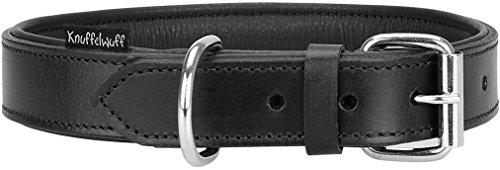 Knuffelwuff Weiches Lederhalsband Hund Hundehalsband Welpen Basic Plus Schwarz XS 19-25 cm