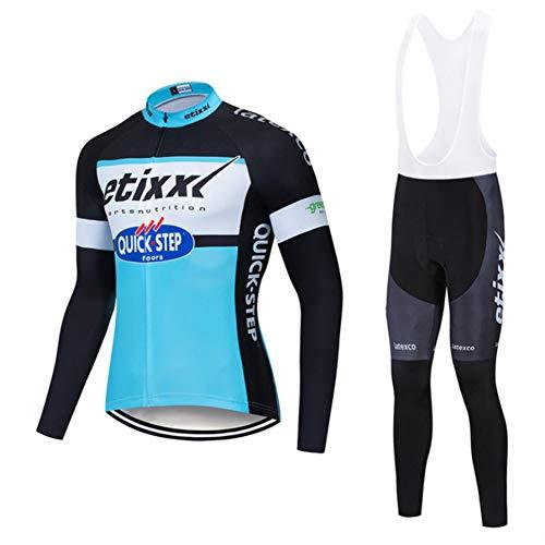 Quick.Step Etiix Classic Vélo Sportswear - Maillots de Cyclisme d'hiver for Hommes à Manches Longues Pro Racing Club - Vélo d'extérieur Vélo à vélo Anti-UV VTT Cyclisme Cyclisme