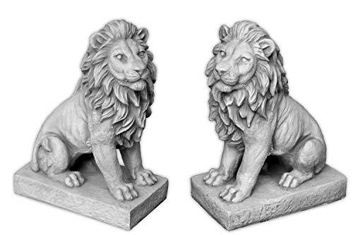 gartendekoparadies.de Sonderangebot: Herrliches Löwen Paar klein Torwächter aus Steinguss frostfest