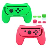 FASTSNAIL Grips Compatible with Nintendo Switch Joy-Con, Wear-Resistant Handle Kit Compatible with Switch Joy Cons Controllers, 2 Pack(Green and Pink)