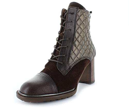 Hispanitas dames laarzen met stiksel en veters HI99536 INES halfhoog blokhak leder bruin (mocca)