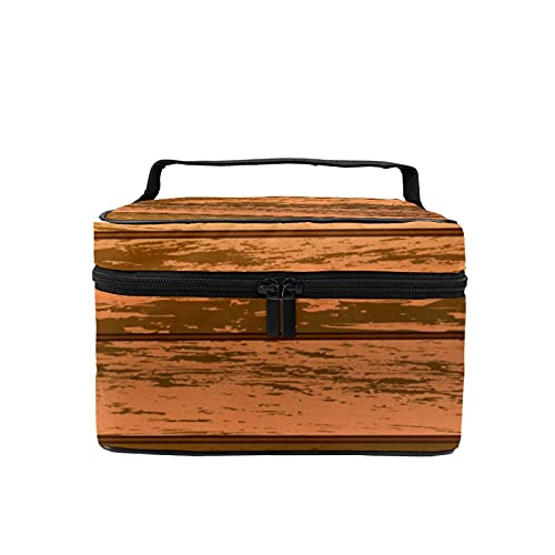 Bolsa de maquillaje de viaje grande bolsa de cosméticos marrón madera natural maquillaje caso organizador con bolsa de malla para mujeres y niñas