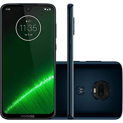 "Motorola Moto G7+ Plus (64GB, 4GB RAM) Dual SIM 6.2"" 4G LTE (GSM Only) Factory Unlocked Smartphone International Model XT1965-2 (Deep Indigo)"