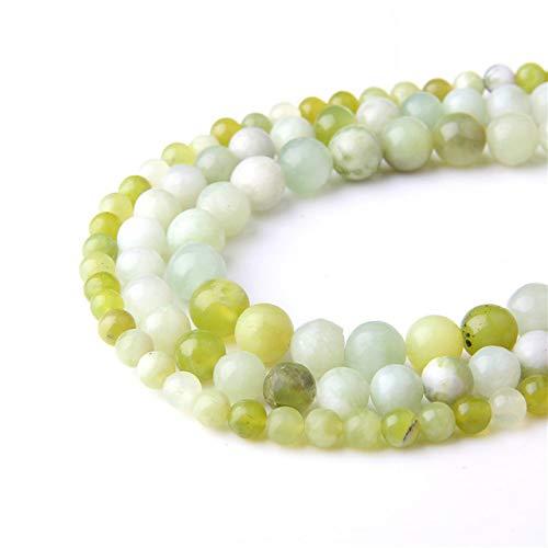 Pulsera de piedra con cuentas redondas de piedra de arena de oro natural para joyería unisex 4, 6, 8, 10, 12 mm, perlas sueltas de perlas de 15,5 y quot; jade verde, 8 mm