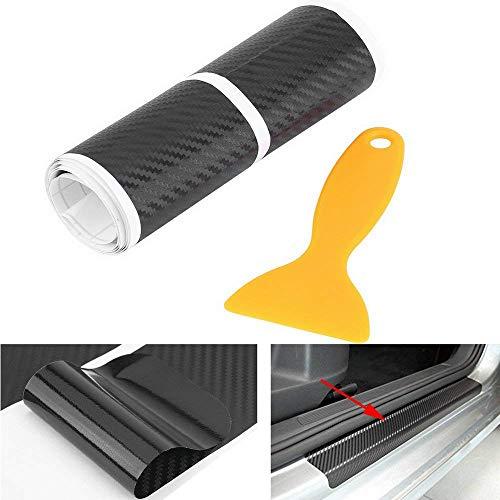 Yosoo 4Pcs Fibra de Carbon Anti-rasguños Coche Puerta Umbral Pegatina Placa de Desgaste Cubrir Panel Paso Protector