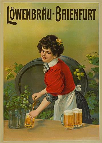 Vintage bieren, wijnen en sterke drank 'Löwenbräu-Baienfurt', Duitsland, jaren 1920, 250gsm Zacht-Satijn Laagglans Reproductie A3 Poster