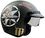 Vega Helmets X390 Retro Open Face Motorcycle Helmet w/Sunshield...