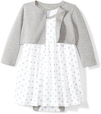 Moon and Back Baby Girls 2 Piece Organic Dress and Cardigan Set Grey Heather Newborn product image
