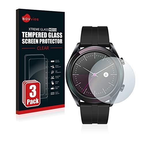 Savvies Panzerglas kompatibel mit Huawei Watch GT Elegant (42 mm) (3 Stück) - Echt-Glas, 9H Festigkeit, Anti-Fingerprint