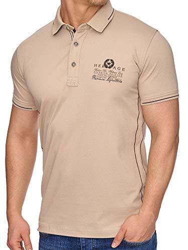 Tazzio Herren Poloshirt Polo Shirt T-Shirt Kurzarmshirt Shirt Polohemd (T-1017, Beige, XL)