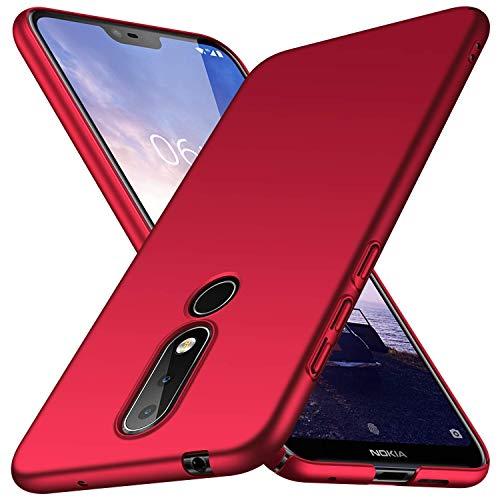 FanTings Capa para Nokia 7.1, [ultrafina] [antiqueda] [sensação de seda] Capa protetora para celular PC rígida para Nokia 7.1-vermelha