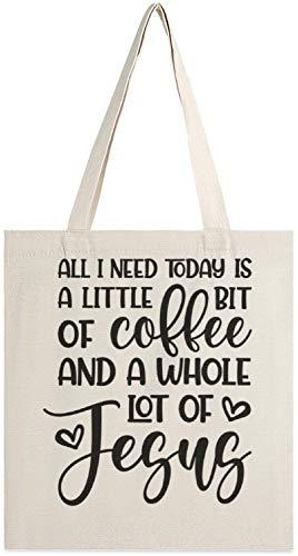 MODORSAN Todo lo que necesito hoy es un poco de café Bolso de mano de lona, bolsos de hombro, bolsos de compras para niñas, bolsos para artículos diversos, bolsos para llevar libros
