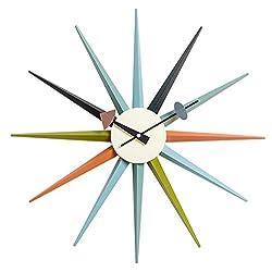 MLF Nelson Sunburst Clock in Multi Color, Designed by George Nelson(Full Range Available)