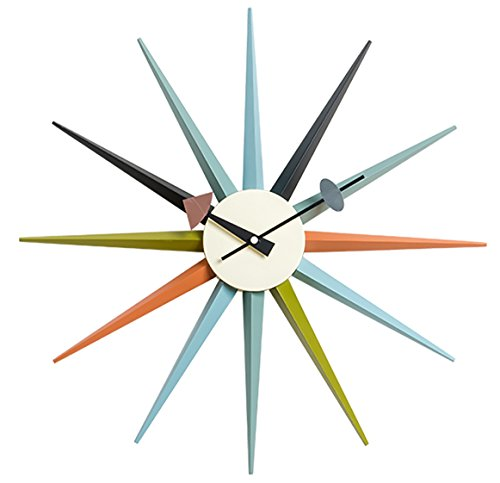 Emorden Furniture George Nelson Sunburst Clock in Multi Color, Classic Wooden Mid Century Retro Modern Wall Clock, Fit for Living Room, Hall, Office, Bedroom etc. (Full Range Available)
