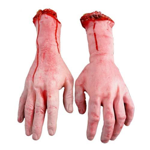 litty089 Halloween Fake Scary Abgetrennte Hand Gebrochener Körper, Lebendiger Mensch Arm Hand Blutige Leichen Teile Haunted House Halloween Stage Requisiten BlutNone