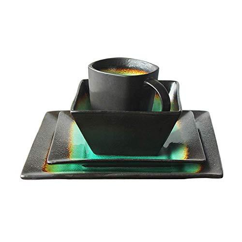 Ceramiczna zastawa stołowa Kreatywny kwadratowy Retro talerz ceramiczny z pękniętym lodem kwadratowy zestaw sztućców Dom Zdrowie Środowisko Rodzina Kolacja Serwis