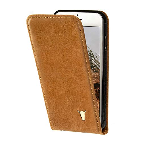 TORRO Phone Case Compatible With Apple iPhone SE (2020), iPhone 8 and iPhone 7 Genuine Quality Leather Vertical Flip Cover With [Card Slots] [Durable Frame] 4.7' (Tan)