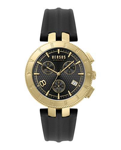 Versus by Versace VSP762918 Logo Gent Herren Chronograph Uhr Schwarzes Lederarmband