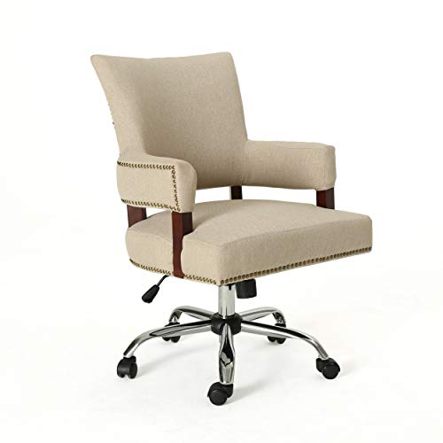 Christopher Knight Home Maye Traditional Home Office Chair, Wheat and Chrome