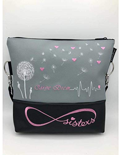 Handtasche Pusteblume Herzen Sisters Schwester Schultertasche/Umhängetasche *bestickt