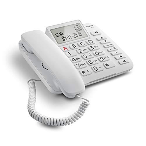 Gigaset DL380 - Teléfono (Teléfono analógico, Terminal con conexión por Cable, Altavoz, 99 entradas, Identificador de Llamadas, Blanco)