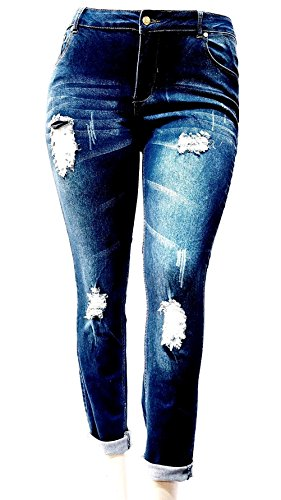 Omega Womens Plus Size Blue Denim Stretch Ankle Jeans Skinny Distressed Pants (22)