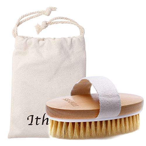 Ithyes Brosse pour le corps La brosse exfoliante La brosse de bain à poils naturels pour éliminer les toxines cellulites de la peau morte Le traitement, Améliorer les fonctions lymphatiques, Exfoliant