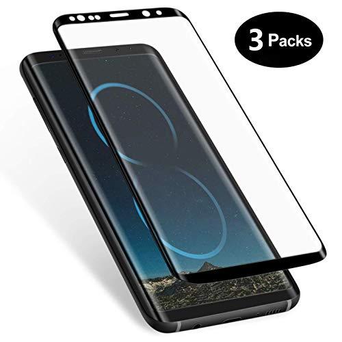 Galaxy S8 Panzerglas schutzfolie, [3 Stück] 3D Full Cover Panzerglasfolie für Galaxy S8,9H Härte,Anti-Kratzer, Anti-Fingerabdruck,Displayschutzfolie für Galaxy S8 (Schwarz)