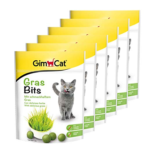 GimCat Gras Bits - Getreidefreier und vitaminreicher Katzensnack mit echtem Gras - 6er Pack (6 x 140 g)