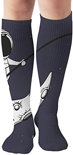 Baby Astronaut Fishing On Moon Space People Science Compression Socks Women & Men, Best Athletic & Medical Running Flight Travel Pregnant 19.68 Inch