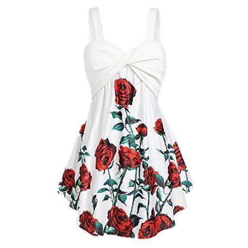 Damen Kleid mit Rosenmuster, V-Ausschnitt, Kreuzknoten, hohe Taille, Größe L und M Gr. XXL, weiß