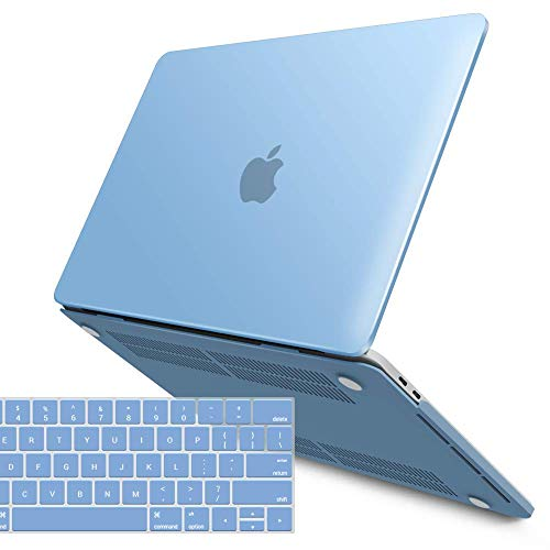 IBENZER MacBook Pro 15 Inch Case 2019 2018 2017 2016 A1990 A1707, Plastic Hard Shell Case with Keyboard Cover for Apple Mac Pro 15 Touch Bar,Airy Blue, T15ARBL+1A