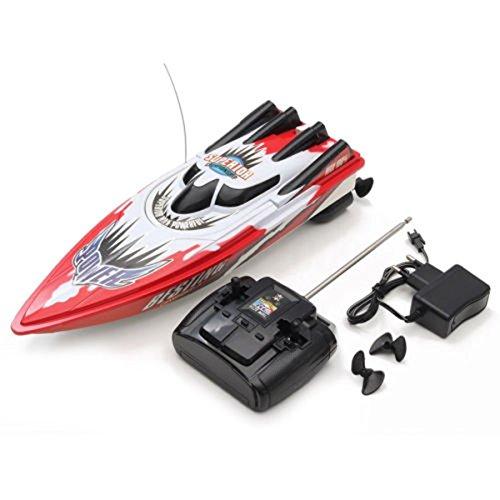 TOOGOO Barco RC Barco de Alta Velocidad Motor Doble Control Remoto de Radio Juguete de Carreras RC Regalo para ninos EU Enchufe Rojo