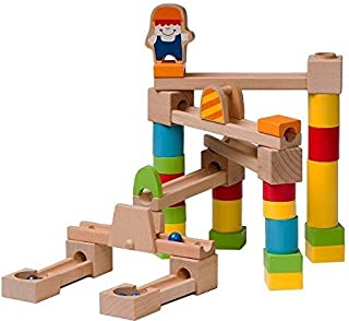 Wooden Marble Run/Maze Construction Set - 40 Piece Set - Marbles Included