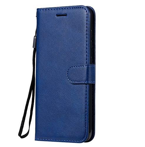 Fatcatparadise Cover Compatibile Nokia 8.1 Plus / X71 [con Pellicola in Vetro Temperato], Cuoio Portafoglio Flip Case Conception Simple Wallet Case Custodia in PU Lussuosa Cover (Blu)