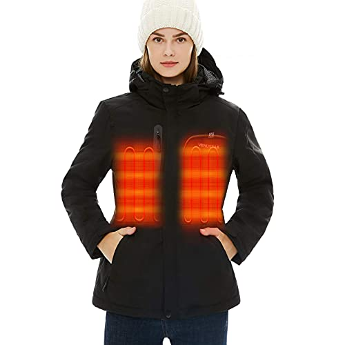 [2021 Upgrade] Women s Heated Jacket with Battery Pack 5V, Heated Coat with Detachable Hood Windproof