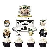 HASAKA 25 piezas de decoración para magdalenas de fiesta de bebé Yoda suministros Star Wars The Mandalorian Theme Cake Toppers decoraciones suministros para niños y adolescentes