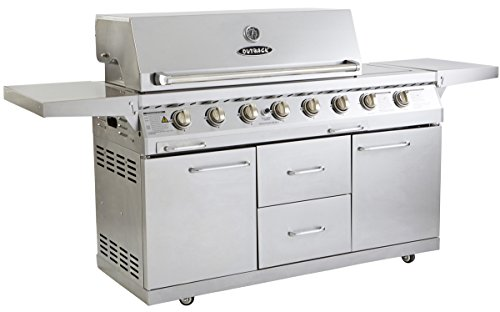 Outback Signature 6 Burner Gas BBQ with Side Burner, Stainless Steel