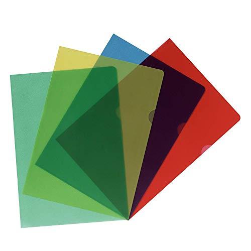 Herlitz 11420254 Aktenhülle, A4, Sortiert, genarbt, farbig (4X 20 Stück, transparent)