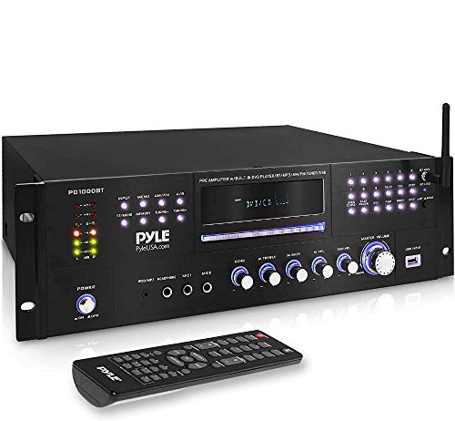 4 Channel Pre Amplifier Receiver - 1000 Watt Rack Mount Bluetooth Home Theater-Stereo Surround Sound Preamp Receiver W/Audio/Video System, CD/DVD Player, AM/FM Radio, MP3/USB Reader - Pyle PD1000BT