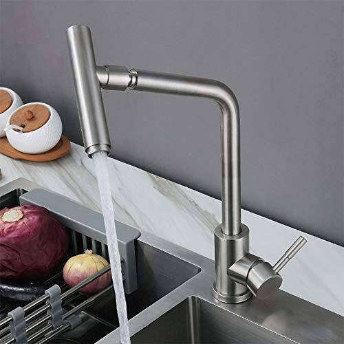 WJYHXW Plata Grifo De Cocina Ducha Giratorio A 360° Cepillado Grifo para Fregadero De Cocina Diseño Clásico Y Profesional Agua Fría Y Caliente Plata