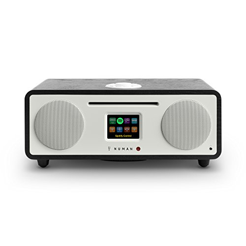 NUMAN Two 2.1, Design Internet Radio, DAB/DAB+ / UKW-Tuner mit RDS, CD-Player, Spotify Connect, WiFi/LAN-Konnektivität, Bluetooth, AUX, Subwoofer, 2 Equalizer, 30 W RMS, schwarz
