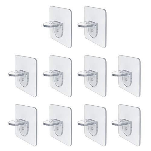 10 pegatinas para tablillas sin perforaciones para el hogar, soporte de división en capas, soporte de gancho para soporte de acrílico transparente autoadhesivo (tamaño: 7 x 7 cm)