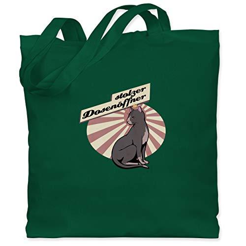 Shirtracer Katzen - Stolzer Dosenöffner Katze - Unisize - Dunkelgrün - Statement - WM101 - Stoffbeutel aus Baumwolle Jutebeutel lange Henkel